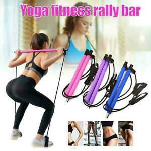 Pilates Bar Kit W/Resistance Band Pull Rope Exercise Portable Toning Stick X9Z0