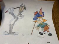 Virgil Ross Sketch - Bugs Bunny And Angus MacRory Golfing. Signed 12.5x10.5""