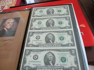 World Reserve Monetary Exchange Uncut 2003 $2 Two Dollar Sheet Bills Notes