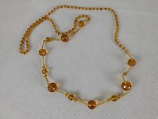 Vintage Bead Necklace Long Honey Amber Color
