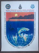 Original Vintage Underwater Spearfishing Championship Poster, Turkey, 1987