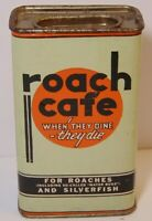 Empty Rare Old Vintage 1940s ROACH CAFE GRAPHIC SPICE TIN POISON QUINCY ILLINOIS