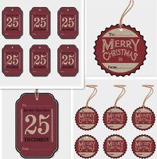 East of India Retro Vintage Christmas Gift Luggage Tag Xmas Label Set of 6