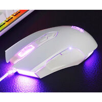 Ajazz USB Wired Gaming 2500dpi Mouse Mice 7 RGB Backlit White for PC Laptop F4I2