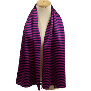 KOHMEIR STRIPES PURPLE LONG Silk Scarf 58/18 In #A66