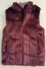 NWT FABULOUS FURS Mink Faux Fur Hook Vest XSMALL Burgundy #13229
