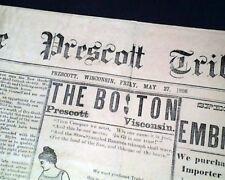 Rare PRESCOTT Pierce County WISCONSIN Late 19th Century 1898 Old Newspaper
