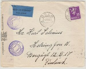 Norway to Finland double censored air mail cover WW2