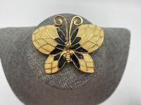 Vintage Enamel Butterfly Brooch Pendant Pin Cloisonne Black Art Deco Nouveau
