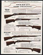 1944 PEERLES Rifle Gun Stocks Remodeling KRAG 30-40, Mauser 8mm PRINT AD