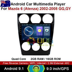"9"" Android 9.1 Quad Core Car Non DVD GPS For Mazda 6 (Atenza) 2002-2008 GG,GY"
