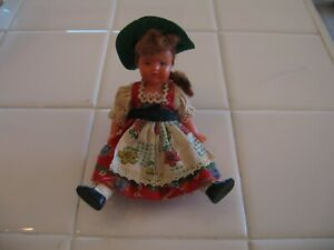 Cute Vintage Plastic Swedish Doll With Dress And Green Hat