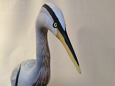 BLUE HERON HAND CARVED LIFESIZE ORIGINAL BIRD SIGNED BY ARTIST JAMES MAPLES