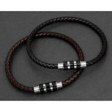 Mens leather bracelet equilibrium stripe clasp