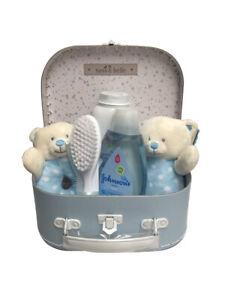 Bear Soft Ring Rattle, Plush & Johnsons Toiletries Newborn Baby Gift Hamper Blue