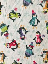 Huntington Home Twin Flannel Flat Sheet - Winter Penguin Print - 100% Cotton