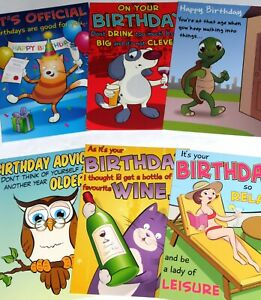 just 29p! 36 VERY FUNNY BIRTHDAY CARDS, HIGHEST QUALITY, 6 DESIGNS X 6. 29p!