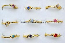 FREE Wholesale Lots 10pcs Crystal Of Rhinestone Gold Plated Wedding Rings