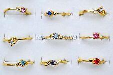 FREE Wholesale Lots 10pcs Crystal Of Rhinestone Gold Plated Wedding Rings