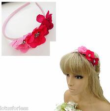 Splendido Rosa Fiore Cerchietto Hairband fascia Alice con diamante