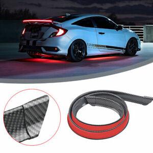 Car Rear Wing Lip Spoiler Carbon Fiber Tail Brake Lights Trunk Trim Sticker