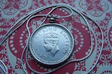 """Very Rare 1942 INDIA SILVER RUPEE Pendant on a 30"""" 925  Silver Snake Chain"""