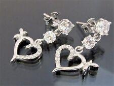 Süße Damen Ohrstecker 925 Sterling Silber 24mm Ohrringe Herz mit Zirkonia Weiß