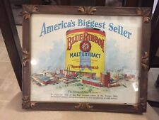 "Blue Ribbon Malt Exract 11""X9"" framed print Premier Pabst Brewing Co. 1933 Rare"