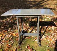 Vintage Typewriter Stand Hi-Lo Metal and Wood Drop Leaf Stand Table Casters Grey
