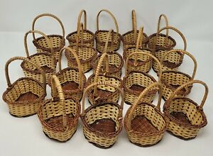 Lot 19 Small Miniature Heart-Shaped Wicker Easter Baskets w/ Handle for Crafts