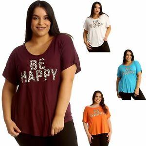 Womens Plus Size Top Ladies Be Happy Slogan Summer Beach Mini Dress Shirt