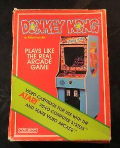 Original 1982 Donkey Kong Coleco Atari 2600 Video Game Cartridge & Box