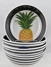 Cynthia Rowley 4 Pineapple black white stripes melamine bowls soup cereal salad