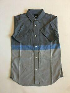 Vans New Houser Short Sleeve Button Down Shirt Youth Boy's Medium 10-12
