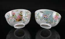 FINE! PAIR Chinese Famille Rose Falangcai 'Eggshell' Porcelain Bowls c1960