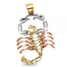 Scorpion Charm Solid 14k Yellow White Rose Gold Zodiac Sign Pendant Diamond Cut
