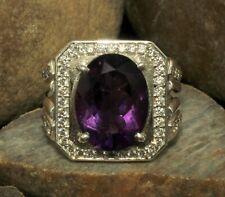 925 Sterling Silver Natural Amethyst Oval Gemstone Designer Men's Ring MR-032