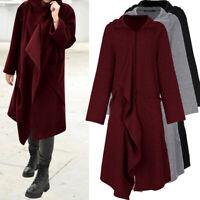 UK Womens Long Coat Ladies Hoodie Tunic Outwear Jacket Casual Cardigan Size 8-26