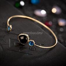 Comeon 7 Women Open Wrist Bangle Cuff Black Crystal Gold Adjustable Bracelet