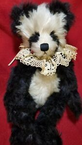 "Paula Egbert ""Pawly Panda"" OOAK artist teddy bear mohair 12"" w/record page"