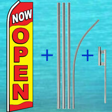 NOW OPEN FLUTTER FLAG + POLE MOUNT KIT Tall Curved Feather Swooper Banner Sign