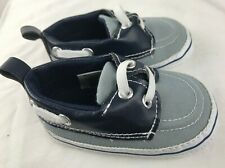 HB Cute  Sider baby boy boat shoes loafers jeans gray & white Sz 6-12Month Shoes