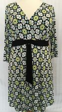 NWT NEW London Style Woman Multi Colored Floral Stretch Shift Dress Women's 18
