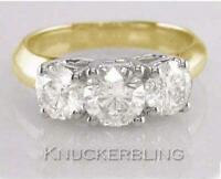 Diamond 3-Stone Trilogy Ring 2.00ct Round Brilliant Cut in 18ct Yellow Gold