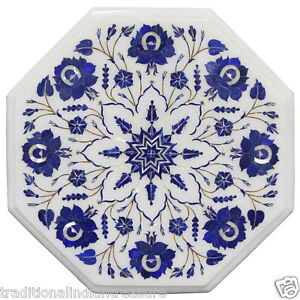 Marble Small Coffee Table Top Lapis Lazuli Marquetry Inlay Housewarming Gift
