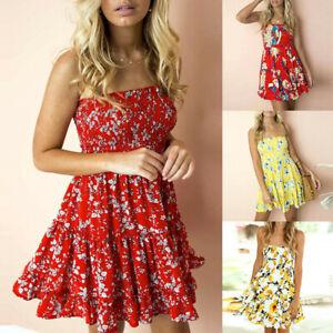 Womens Floral Print Bardot Boho Mini Dress Ladies Summer Beach Holiday Sundress