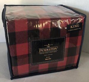 Pendleton Home Collection 4 Pc. Flannel Sheet Set King Buffalo Plaid Red & Black