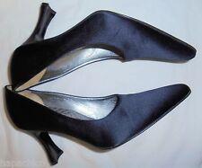 ESCADA Vintage Black Shoes 7 37 Leather Satin Silk Pumps Heels Hapachico