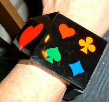 bracelet stretch bangle vintage lucite playing cards bridge canasta poker suits