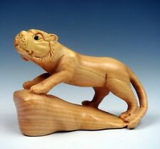 Boxwood Hand Carved Netsuke Sculpture Miniature Tiger On Rock Hill #011914